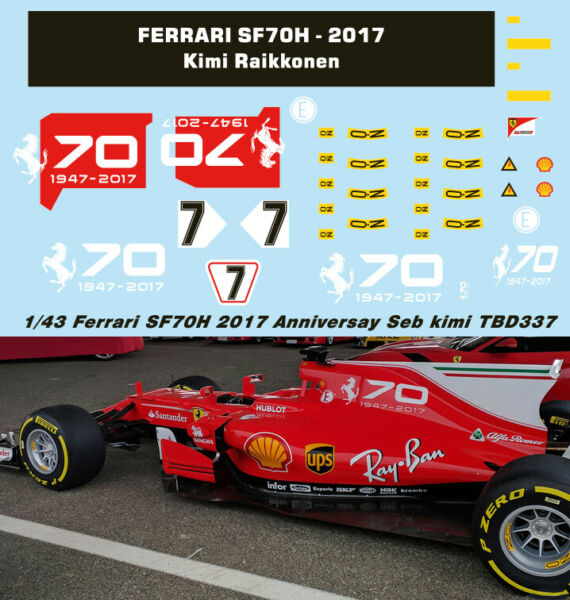 1/43 Ferrari Sf70h 2017 70th Anniversary Decals Vettel Raikkonen Decal Tbd337 Excellente Qualité