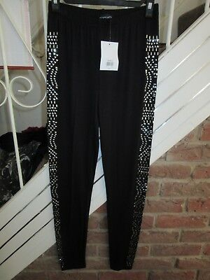Topshop Gold Black Knitted Side Lion Baroque Print Leggings Tight BNWT UK 6 US 2