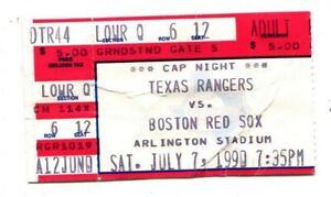 1990-Texas-Rangers-v-Boston-Red-Sox-Ticket-Nolan-Ryan-Win-297-7-7-1990