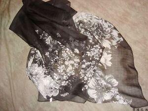Jolie-Echarpe-Florale-Noir-Blanc-en-Lin-Apocynum-de-Xinjiang-160x50cm