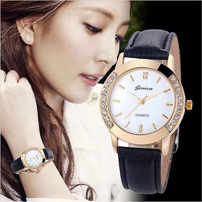 New Women's Geneva Fashion Leather Analog Stainless Steel Quartz Wrist Watch