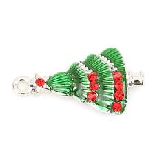 10pcs Jewelry Decoration Enamel Red Rhinestone XMAS Tree Alloy Charms Pendant L