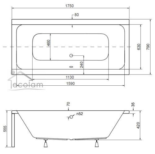 Badewanne Rechteck Wanne Acryl 175 x 80 cm optional Kopfstützen Ab-// Überlauf Q