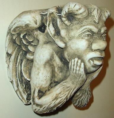 Vintage Gargoyle Mythical  Bracket Plaster Antique Finish Sconce Shelf