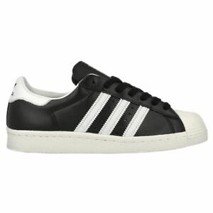 Adidas Superstar 80s Black White Mens Leather Low-top Sneakers Trainers New