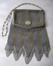 Antique Art Deco Silver Gold Stripe PRINCESS MARY Chain Fringe Mesh Purse W&D