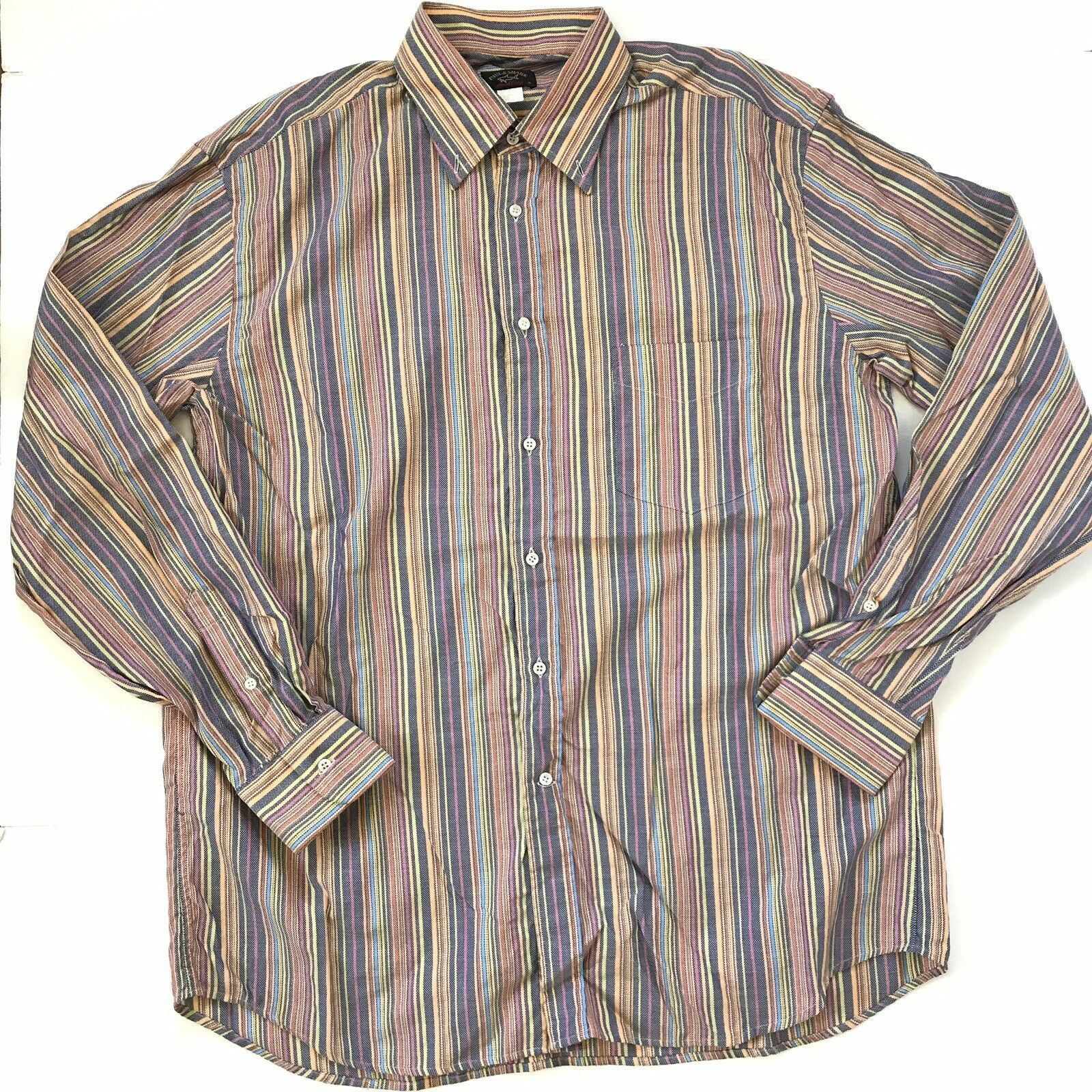 Paul Shark Yachting Mens XL Striped Multicolor colorful Pastel Button Down Shirt
