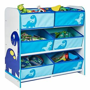 Image Is Loading Dinosaurs 6 Bin Storage Unit Mdf Kids Bedroom