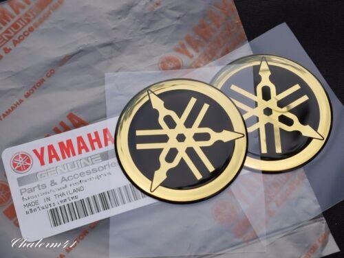 2X YAMAHA GENUINE GOLD 45mm TUNING FORK LOGO STICKER EMBLEM DECAL YZF FZ R MAX