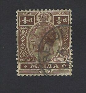 Rare-Malta-KGV-Stamp-cancelled-with-replica-of-Village-Postmark-CRENDI
