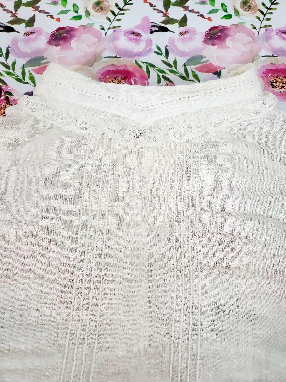 Vintage 10s Antique Cotton Blouse - xs, sm, petite - image 4