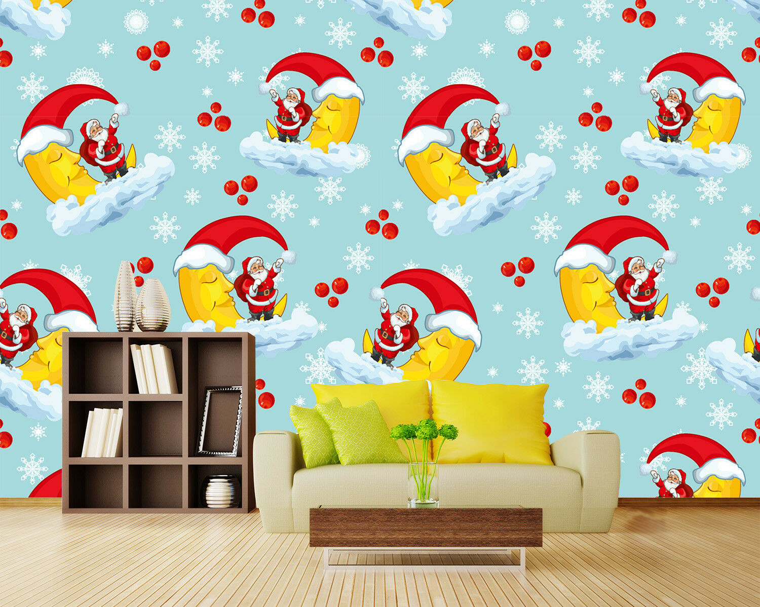 3D Red Hat Moon Santa 53 Wallpaper Murals Wall Print Wallpaper Mural AJ WALL US