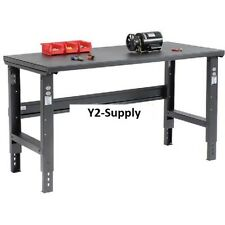 60W x 30D Mobile Adjustable Height C-Channel Leg Workbench Shop Top Square Edge Gray
