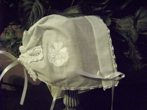 Baby Magic Christening Bonnet wedding hankie Butterfly Cross lace Claddaugh