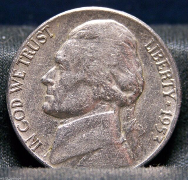 1953 D Jefferson Nickel, Circulated, Nice Coins, Mintage of 59 Mil, Free Ship
