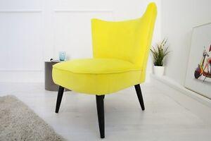 sessel polsterstuhl marta samtstoff gelb vintage retro neu ebay. Black Bedroom Furniture Sets. Home Design Ideas