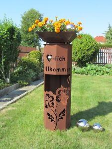 8Eck-Saeule-Rost-Hibiskus-willkommen-Edelrost-Garten-Deko-Stele-Deko-Rostsaeule