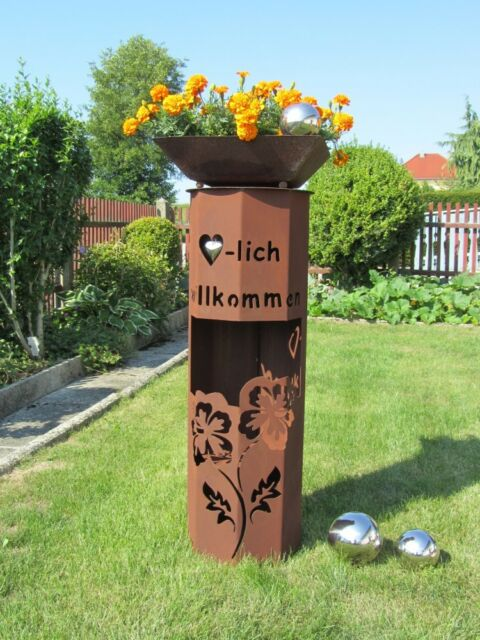 8Eck Säule Rost Hibiskus willkommen Edelrost Garten Deko Stele Deko Rostsäule