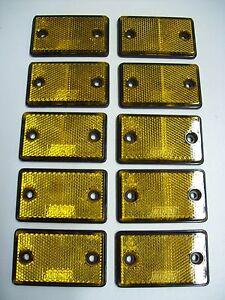 10  Rectangular amber  Reflectors for Trailers/Fenci<wbr/>ng/Posts/Gates<wbr/>/Driveways etc