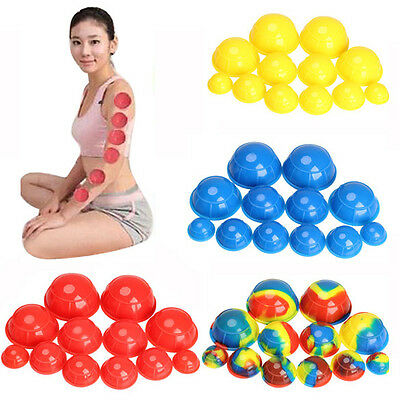12pcs Silicone Vacuum Cups Set Anti Cellulite Cupping Massage Kit Health Care