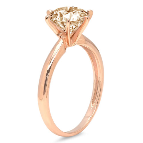 Details about  /1.0 Round Cut Natural Morganite Wedding Bridal Promise Ring Real 14k Rose gold