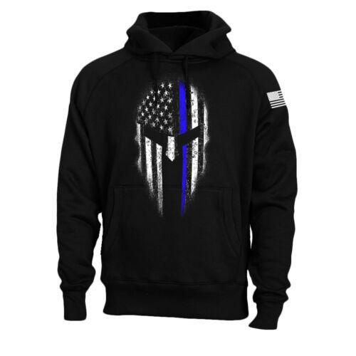 Thin Blue Line American Spartan USA Flag Police Hoodie Sweatshirt