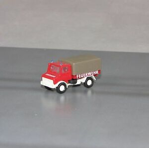 Spur-N-1-160-ROCO-Mercedes-Benz-Unimog-Feuerwehr-LKW-mit-Plane-Neu-ohne-OVP