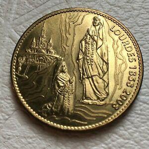 RARE Lourdes Saint Bernadette monnaie médaille commémorative 1858 2008 pèlerinage français
