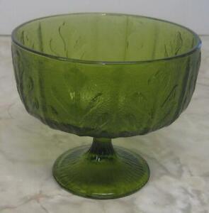 Vintage-Green-Glass-Compote-Oak-Leaf-Pedestal-FTD-Planter-5-5-034-high-6-1-2-034-diam