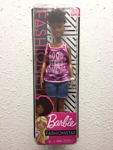 Barbie Fashionistas Doll # 128 Short Curly Hair Wearing Pink Camo Top New