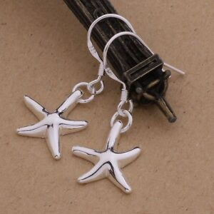 Fashion-Women-925-Sterling-Silver-Starfish-Solid-Plated-Dangle-Earrings-Studs