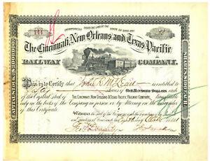 Cincinnati,New Orleans and Texas Pacific Railway Company. Stock Certificate 1881