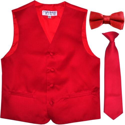 Nuevo Niño Infantil Formal Esmoquin Chaleco /_ Corbata /& Pajarita Rojo Talla USA