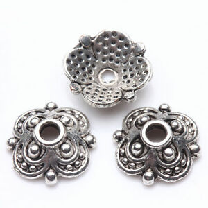50-200-Tibet-Silver-Plated-Flower-Spacer-Bead-Caps-Jewelry-Making-DIY-8x3-10X3mm