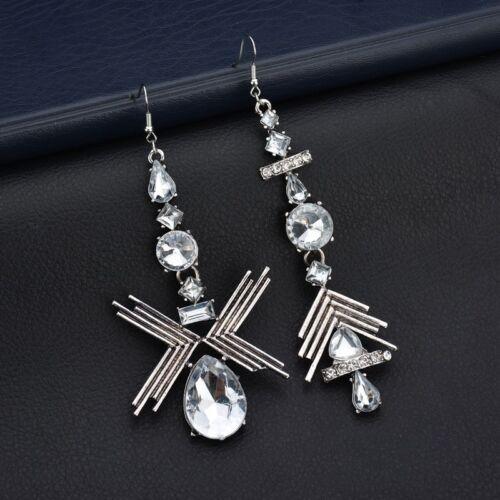 Women Crystal Pearl Chain Hook Stud Ear Drop Dangle Earrings Fashion Jewelry