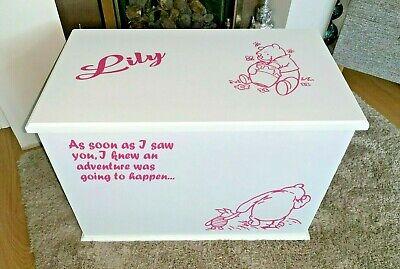 Toy Box Personalised ottoman storage handmade Themed Winnie Pooh
