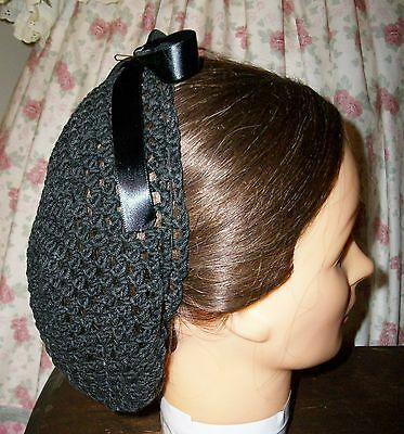 CIVIL WAR DRESS VICTORIAN ACCESSORIES LADY/'S BLACK 100/% COTTON CROCHET SNOOD~NET