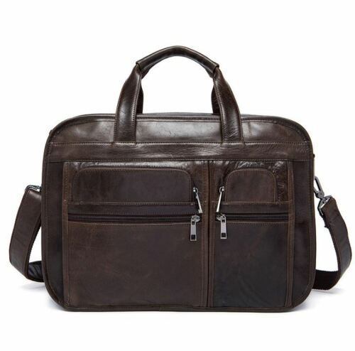 Vintage Coffee//Black Men/'s Cow Leather Shoulder Bag Briefcase Handbag Laptop bag