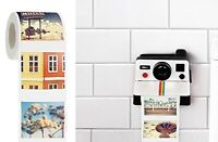 Polaroll Polaroid Camera Shaped Toilet Paper Roll Holder With Color Refill,