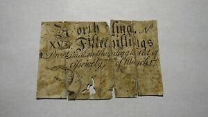 1754-Fifteen-Shillings-North-Carolina-NC-Colonial-Currency-Note-Bill-RARE-Issue