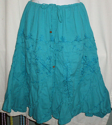 Candies Juniors Size XL Blue Cotton Peasant Skirt Embroidered