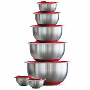 TRAMONTINA-14-Piece-Covered-Stainless-Steel-Mixing-Bowl-Set-RED-COVERS-NEW