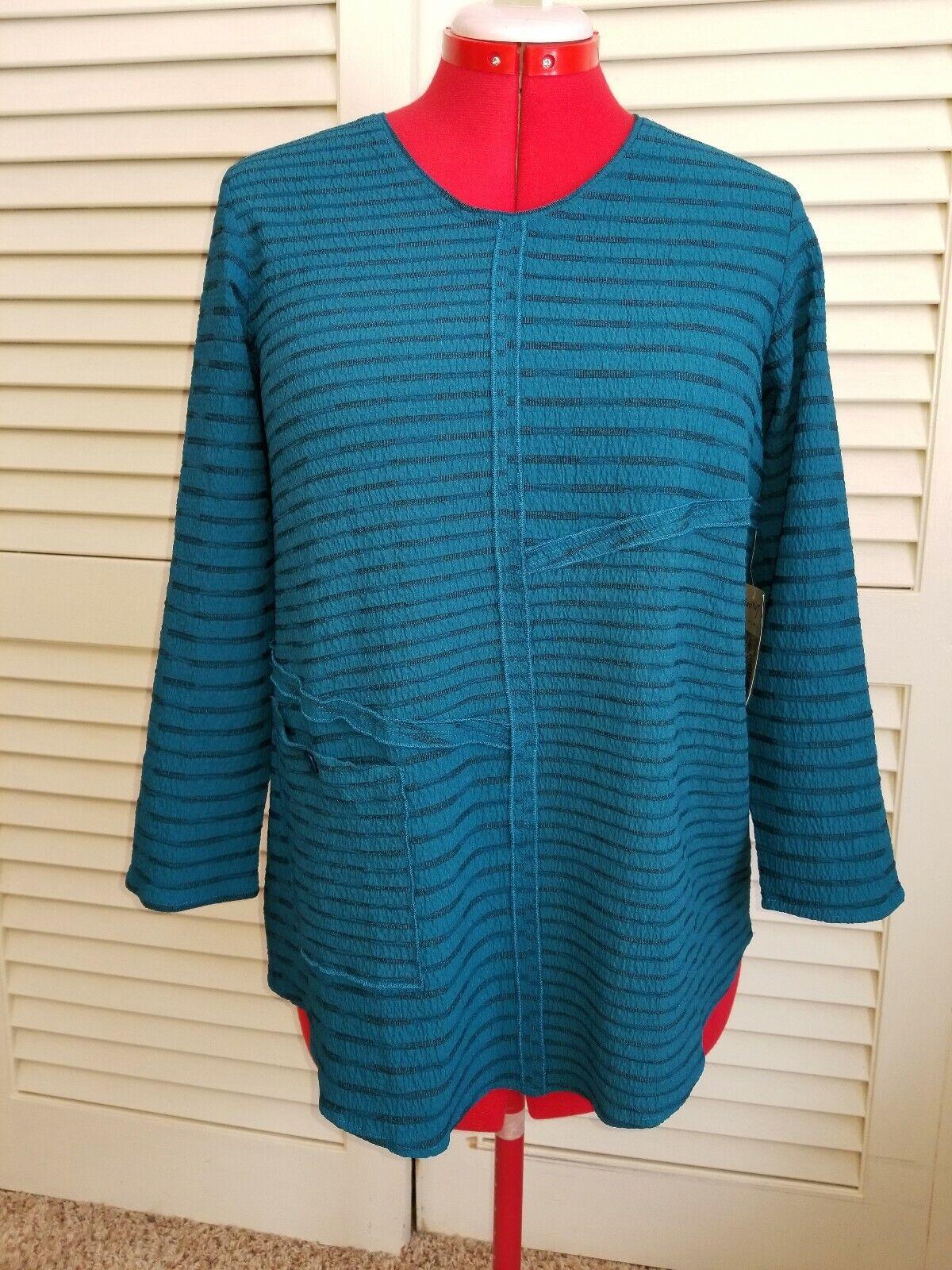 New HABITAT Small  Blau  Gorgeous paneled pocket tunic blouse Aegean