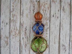 (3) Glass Fishing Floats On Rope ~ Nautical Fish Net Decor ~ Amber, Blue, Green