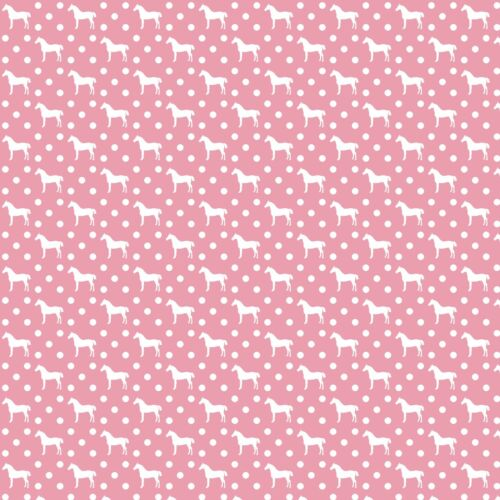 """GORGEOUS /""""PINK HORSES/"""" PRINTED FABRIC SHEET..HAIR BOWS GLITTER,"""
