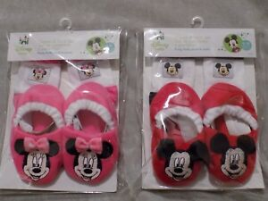 MINNIE MOUSE BABY SOCKS 2 PK Pink White Ears 6-12 18-24 mos NEW