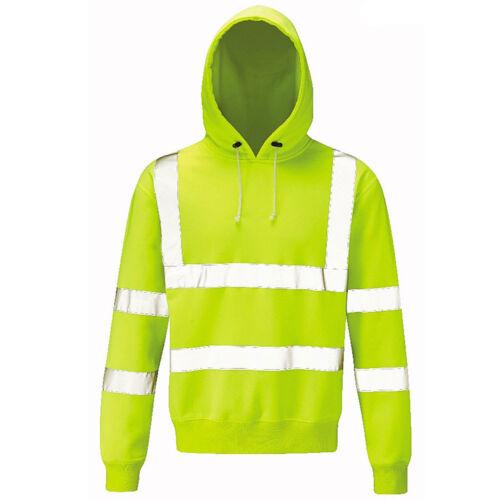 Yellow  Mens Size Raiken Hi Vis Work Pull Over Hoody