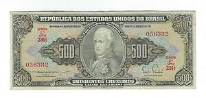 500-Cruzeiros-Bresil-1955-c100-p-164a-Brazil-billet