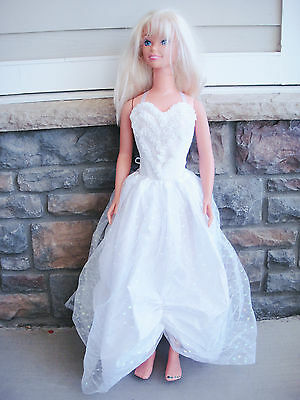 My Size Barbie Bride Doll 1992 Mattel 3ft Tall Skirt Body Suit Slippers Sleeves