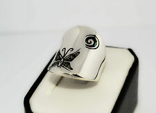 925 STERLING SILVER HANDMADE SOLID  RING BUTTERFLY CERAMICS SIZE UK- M / O
